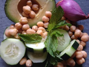 cool as a cucumber, chickpea, and avocado salad
