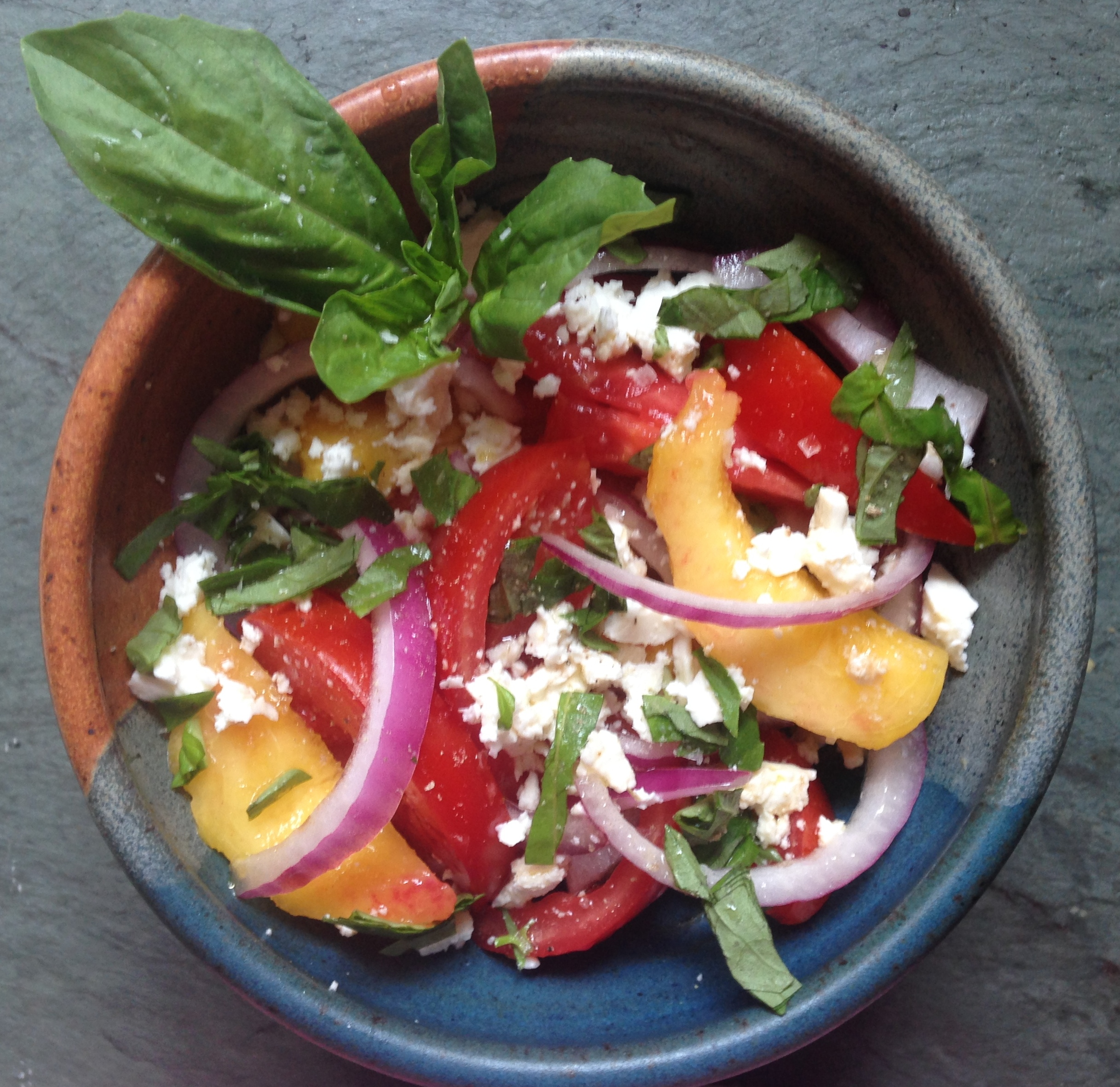 No-Cook July #4: Farm Fresh Tomato and Peach Salad with Basil and Feta ...