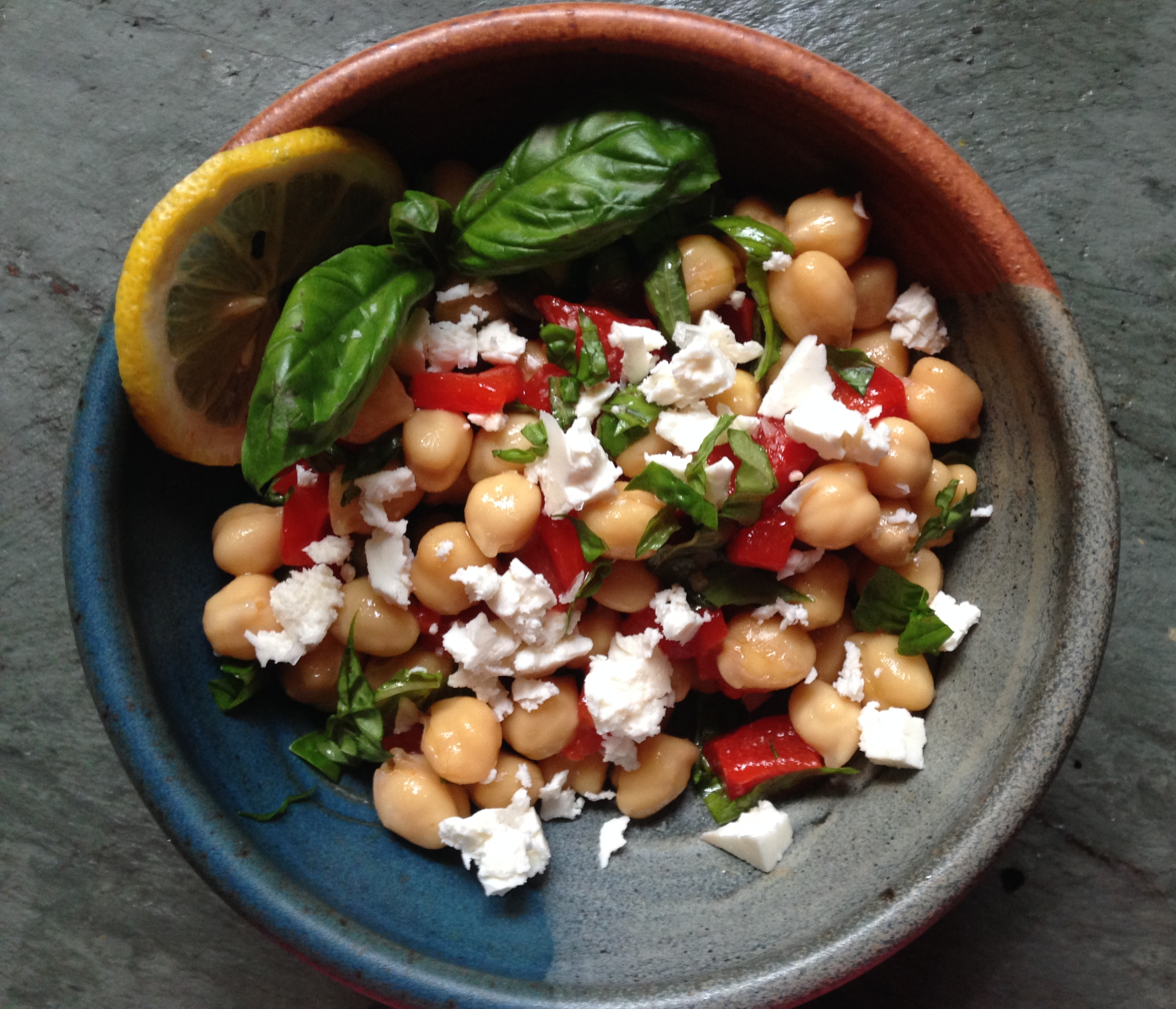 Chickpea and Roasted Red Pepper Salad with Basil and Feta ...