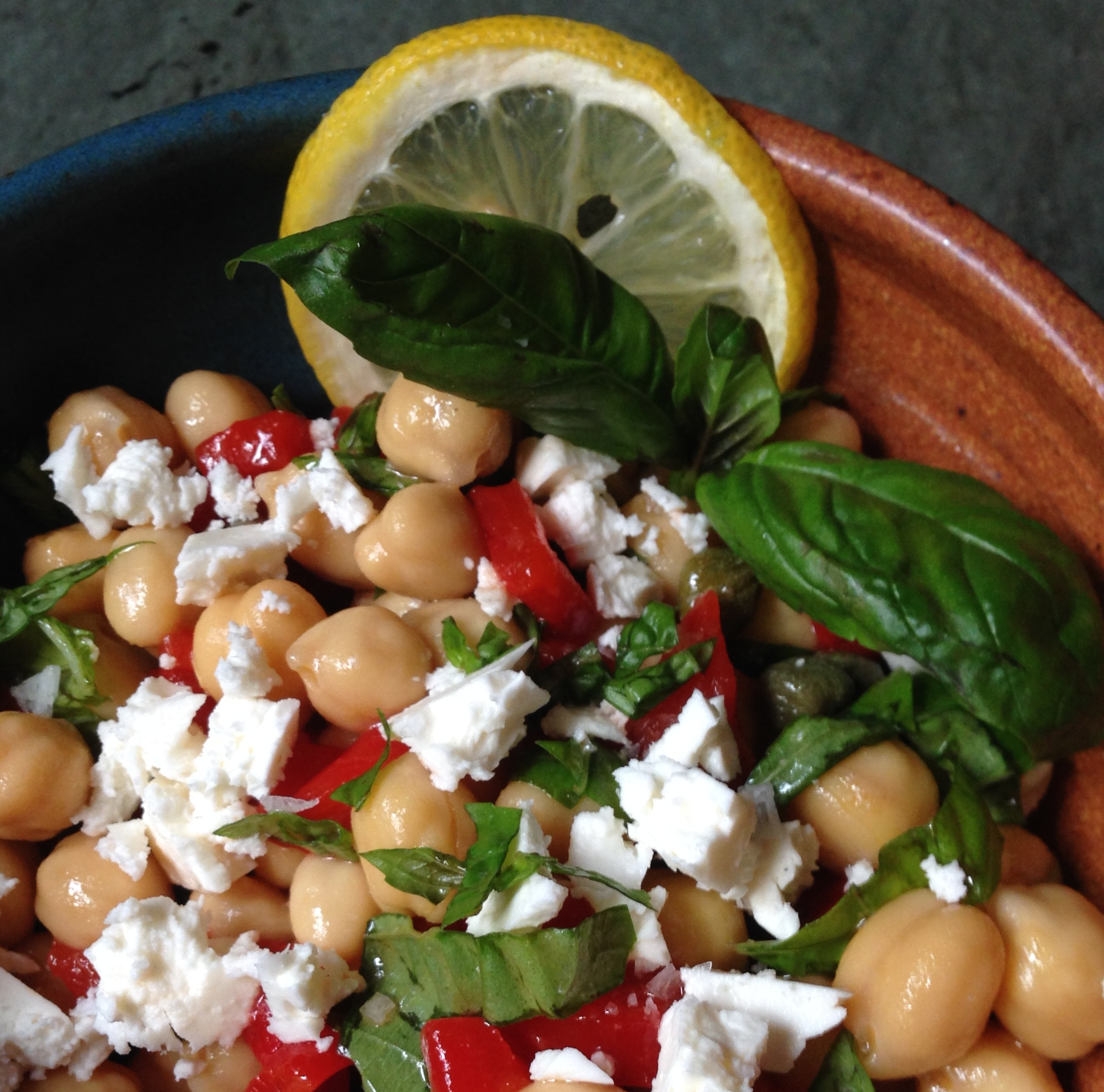 Chickpea And Roasted Red Pepper Salad With Basil And Feta