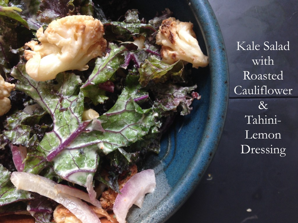Kale Salad with Roasted Cauliflower and Tahini-Lemon Dressing |http://simplicityssakeblog.com