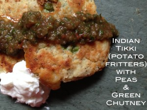 Tikki (potato fritters) with Pea Filling and Green Chutney | http://simplicityssakeblog.com