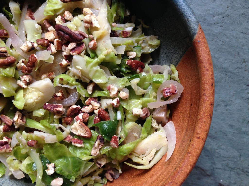 Brussels Sprouts with Shallots and Pecans| http://simplicityssakeblog.com